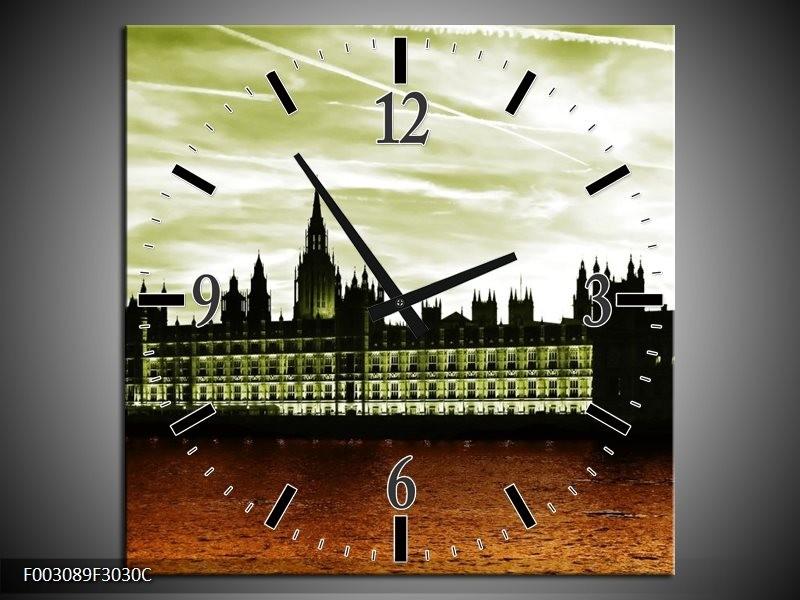 Wandklok op Canvas Londen   Kleur: Bruin, Groen   F003089C
