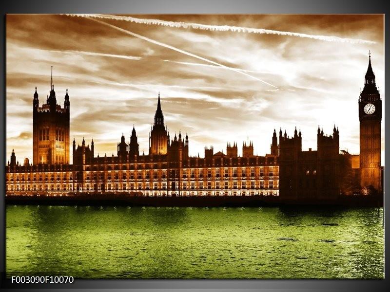 Foto canvas schilderij Londen | Groen, Bruin, Wit