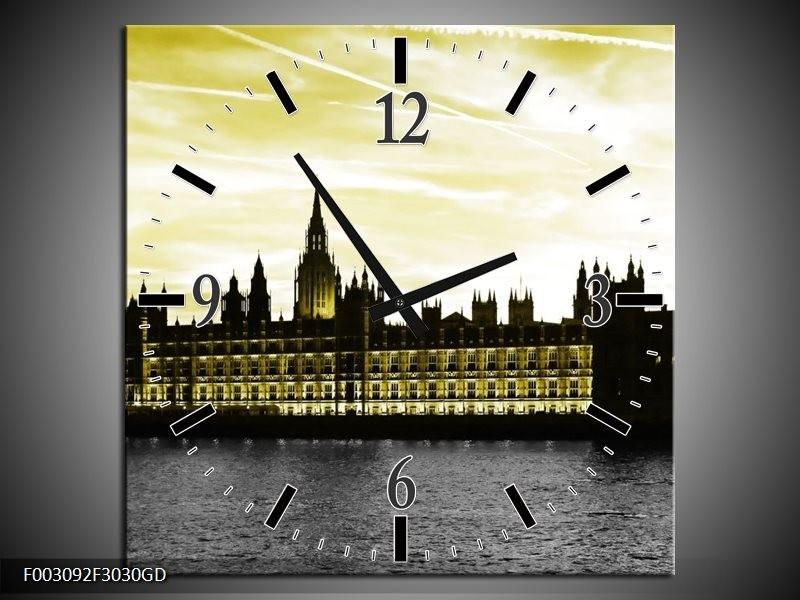 Wandklok op Glas Londen | Kleur: Groen, Goud, Zwart | F003092CGD