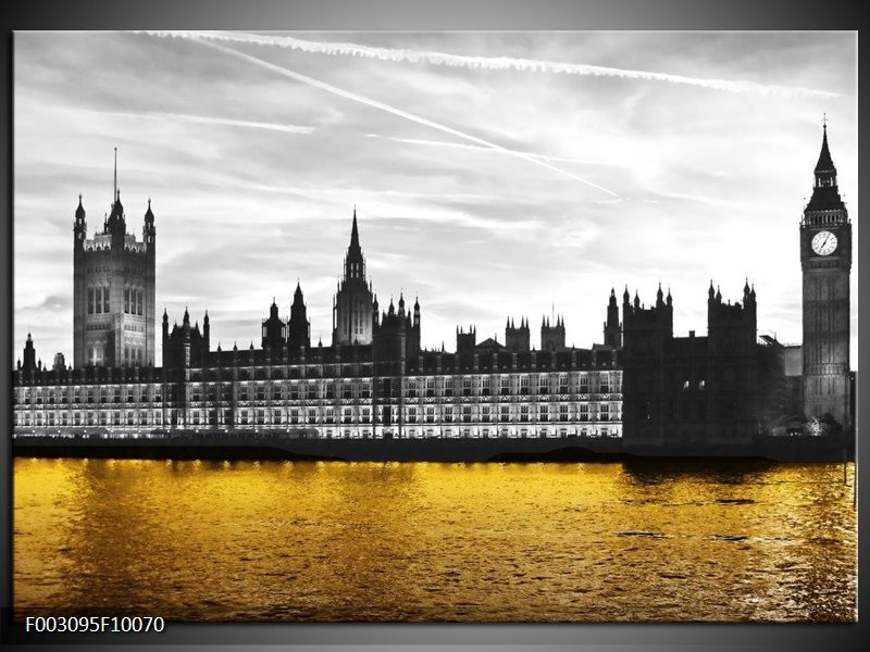 Foto canvas schilderij Londen | Bruin, Zwart, Geel