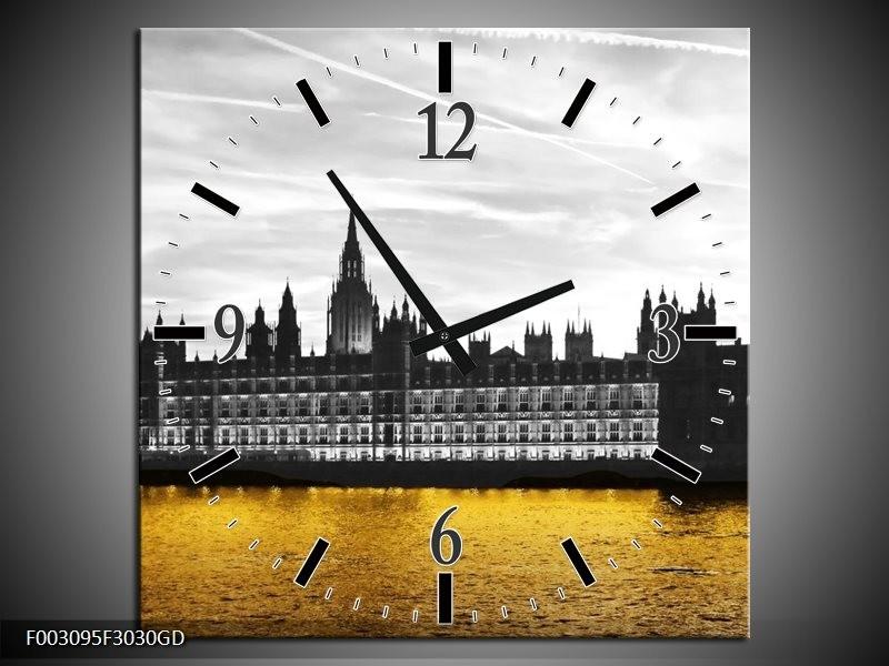 Wandklok op Glas Londen | Kleur: Bruin, Zwart, Geel | F003095CGD