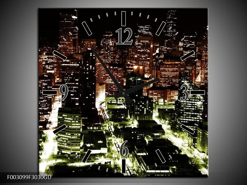 Wandklok op Glas Nacht   Kleur: Bruin, Groen, Zwart   F003099CGD