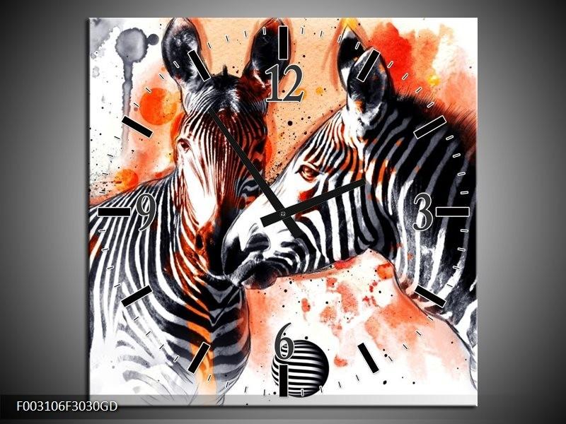 Wandklok op Glas Zebra | Kleur: Rood, Zwart, Wit | F003106CGD