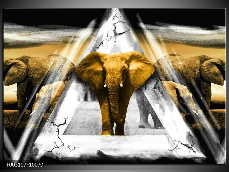 Foto canvas schilderij Olifant | Geel, Wit, Grijs