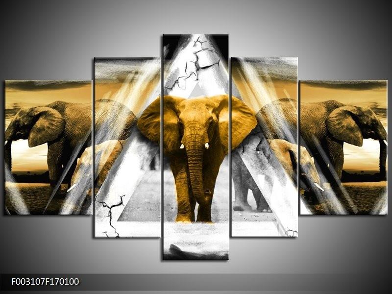 Canvas schilderij Olifant | Geel, Wit, Grijs | 170x100cm 5Luik