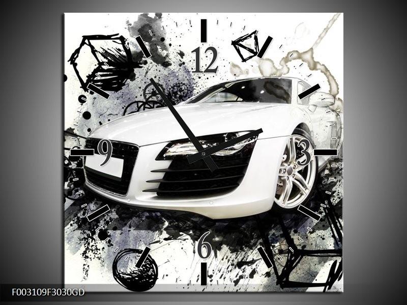Wandklok op Glas Audi | Kleur: Wit, Zwart, Grijs | F003109CGD