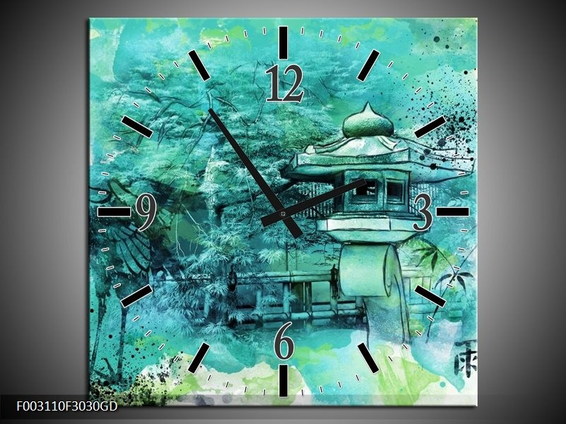 Wandklok op Glas Natuur | Kleur: Groen, Blauw, Wit | F003110CGD