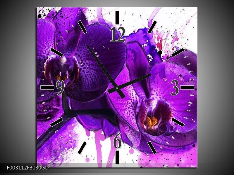 Wandklok op Glas Orchidee | Kleur: Paars, Wit, Zwart | F003112CGD