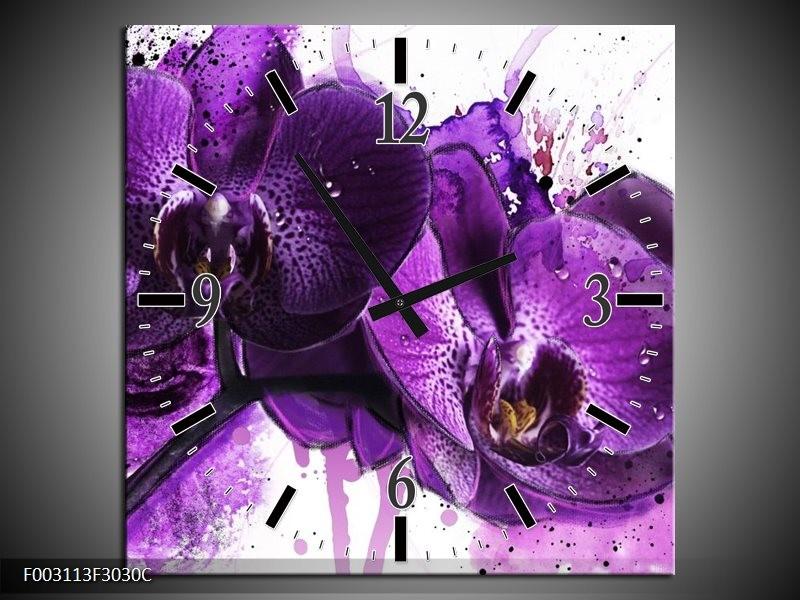 Wandklok op Canvas Orchidee | Kleur: Paars, Wit, Zwart | F003113C