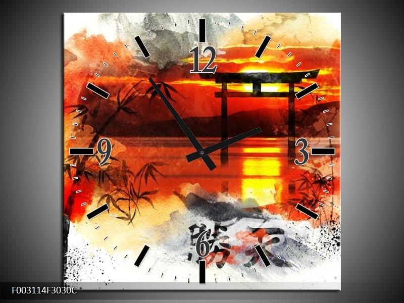 Wandklok op Canvas China | Kleur: Rood, Zwart, Wit | F003114C