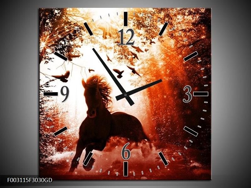 Wandklok op Glas Paard   Kleur: Rood, Zwart, Wit   F003115CGD