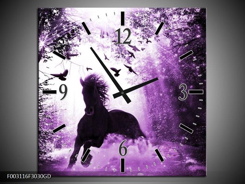 Wandklok op Glas Paard | Kleur: Paars, Zwart, Wit | F003116CGD
