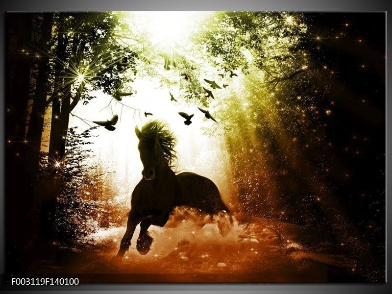 Canvas schilderij Paard   Groen, Zwart, Wit   140x100cm 1Luik