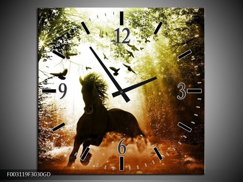 Wandklok op Glas Paard | Kleur: Groen, Zwart, Wit | F003119CGD