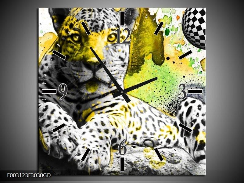 Wandklok op Glas Natuur   Kleur: Groen, Zwart, Wit   F003123CGD