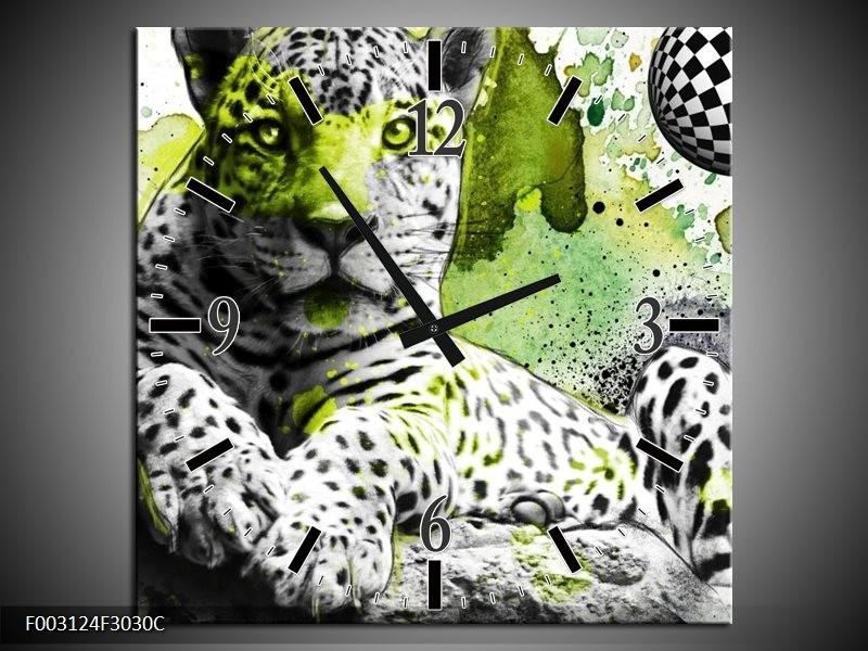 Wandklok op Canvas Natuur | Kleur: Groen, Zwart, Wit | F003124C