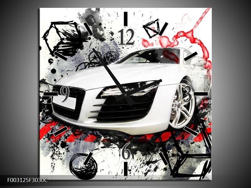 Wandklok op Canvas Audi | Kleur: Rood, Zwart, Wit | F003125C