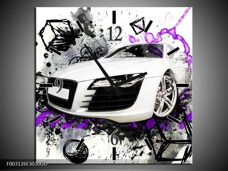 Wandklok op Glas Audi | Kleur: Paars, Zwart, Wit | F003126CGD