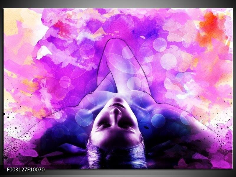 Foto canvas schilderij Lichaam | Paars, Wit