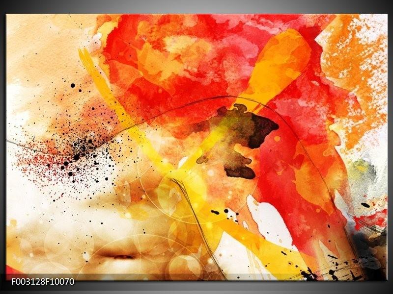 Foto canvas schilderij Abstract | Rood, Geel, Wit