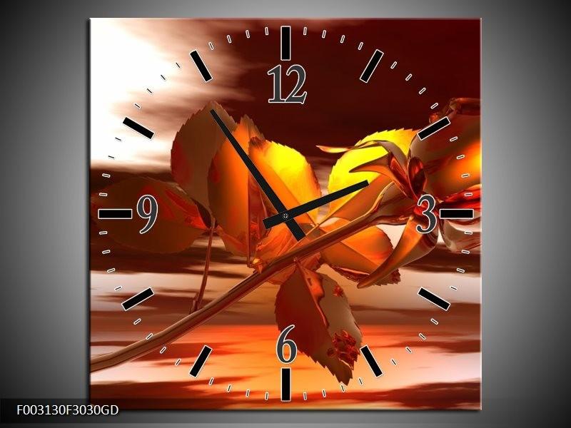Wandklok op Glas Roos   Kleur: Rood, Goud, Geel   F003130CGD