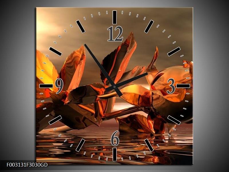Wandklok op Glas Roos | Kleur: Rood, Goud, Geel | F003131CGD