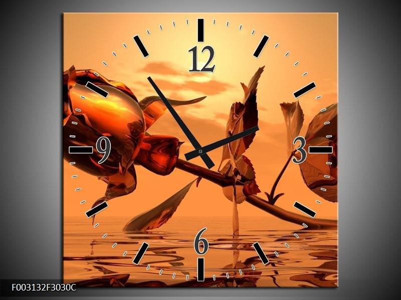 Wandklok op Canvas Roos | Kleur: Rood, Goud, Geel | F003132C