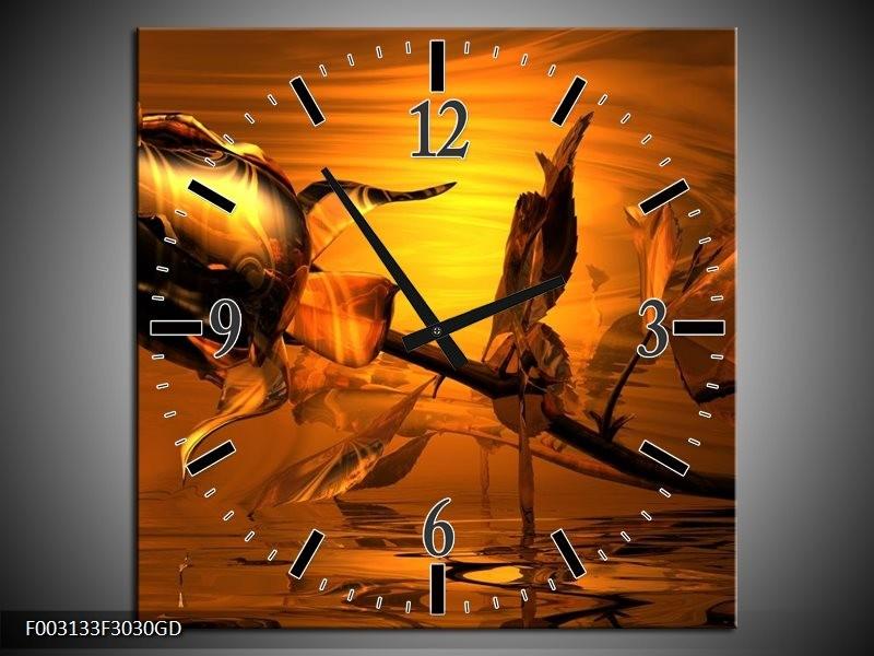 Wandklok op Glas Roos | Kleur: Rood, Goud, Geel | F003133CGD