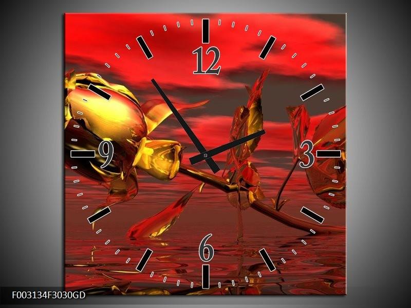 Wandklok op Glas Roos | Kleur: Rood, Goud, Geel | F003134CGD