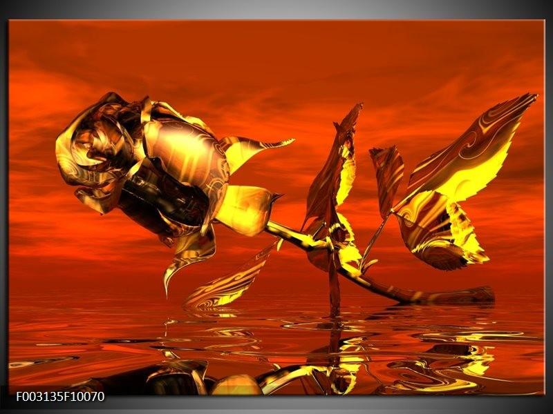 Foto canvas schilderij Roos | Rood, Goud, Geel
