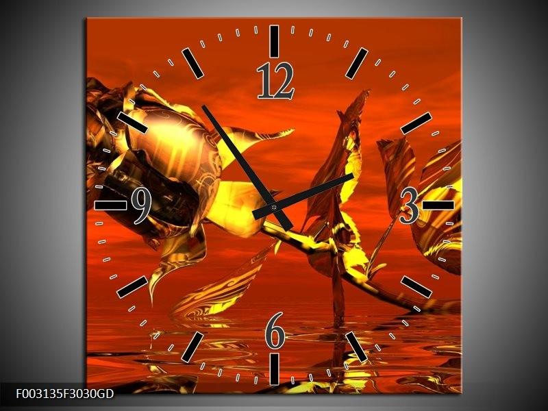 Wandklok op Glas Roos | Kleur: Rood, Goud, Geel | F003135CGD