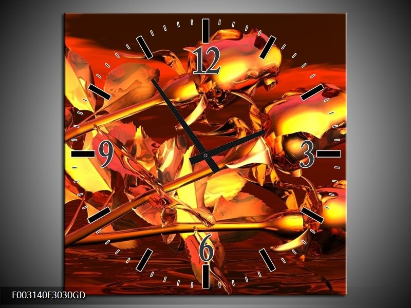 Wandklok op Glas Roos | Kleur: Goud, Geel, Rood | F003140CGD