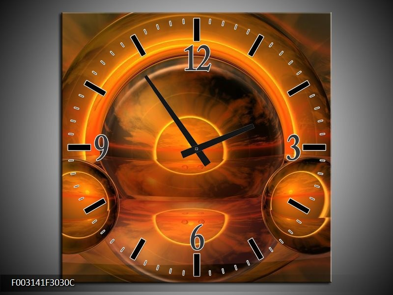 Wandklok op Canvas Abstract | Kleur: Oranje, Bruin, Geel | F003141C