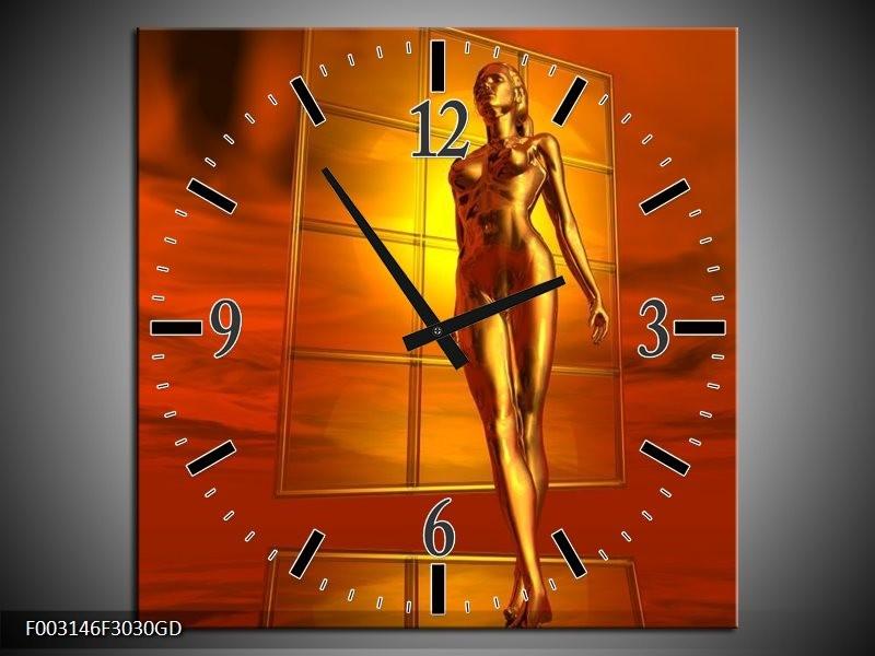 Wandklok op Glas Abstract | Kleur: Goud, Rood, Geel | F003146CGD