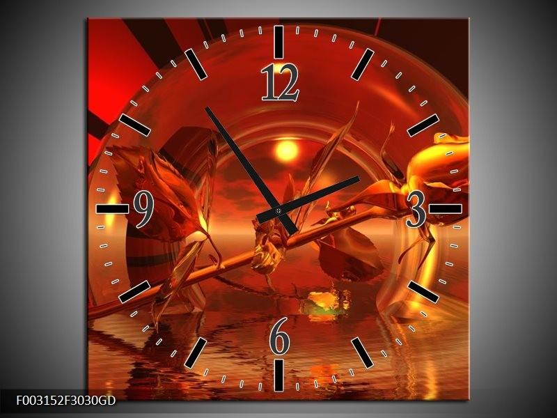 Wandklok op Glas Roos | Kleur: Zwart, Goud, Rood | F003152CGD