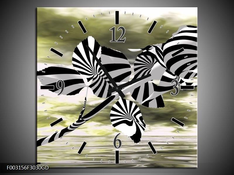 Wandklok op Glas Roos | Kleur: Zwart, Wit, Groen | F003156CGD