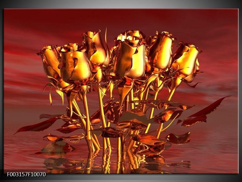 Foto canvas schilderij Roos | Goud, Geel, Rood