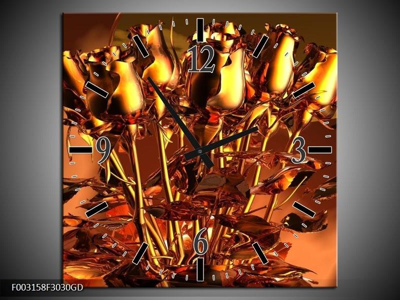 Wandklok op Glas Roos   Kleur: Goud, Geel, Rood   F003158CGD
