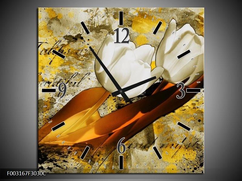 Wandklok op Canvas Tulpen | Kleur: Wit, Bruin, Geel | F003167C