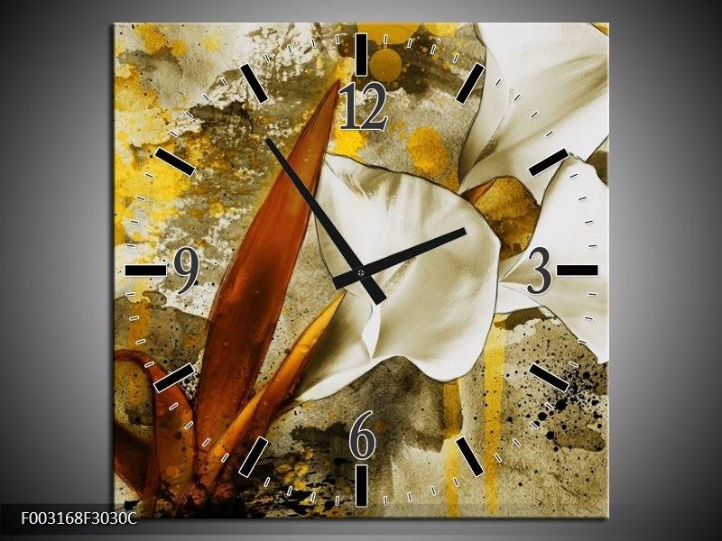 Wandklok op Canvas Bloem | Kleur: Wit, Bruin, Geel | F003168C