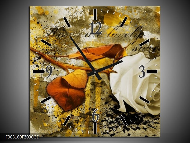 Wandklok op Glas Roos   Kleur: Wit, Bruin, Geel   F003169CGD