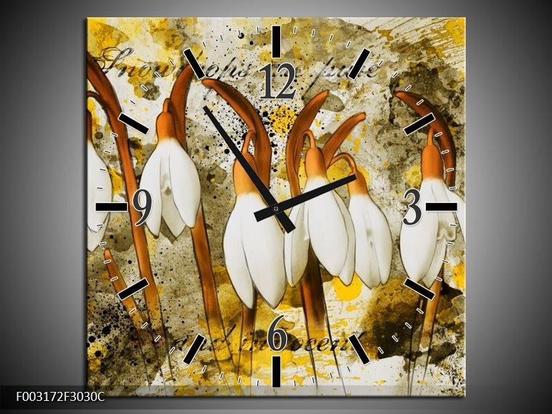 Wandklok op Canvas Bloem   Kleur: Wit, Bruin, Geel   F003172C