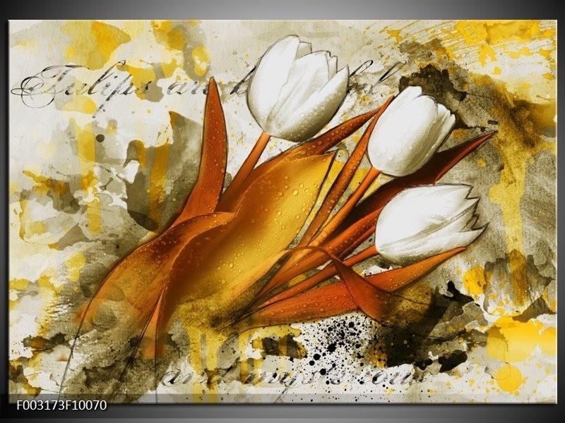 Foto canvas schilderij Tulpen   Wit, Bruin, Geel