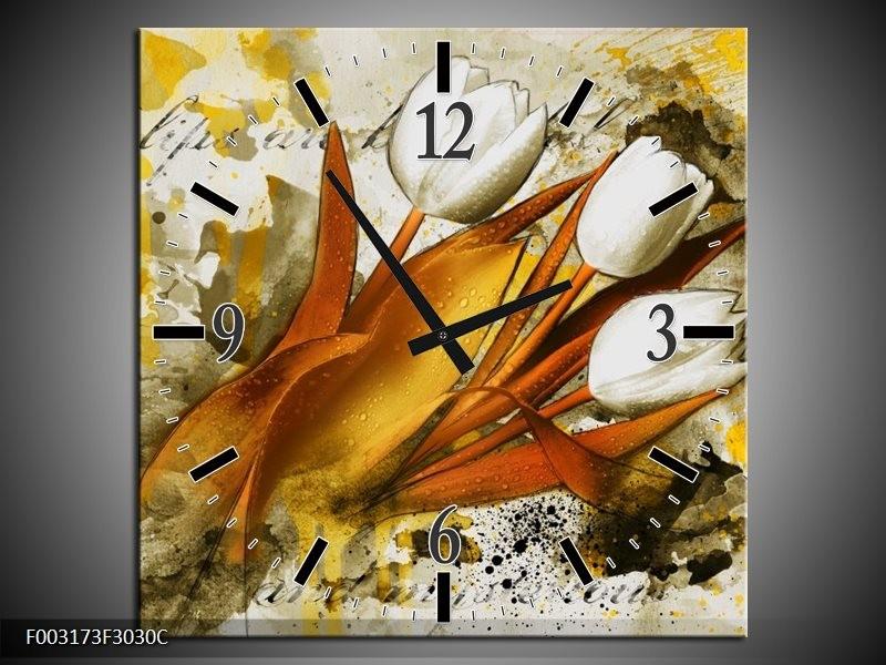Wandklok op Canvas Tulpen | Kleur: Wit, Bruin, Geel | F003173C