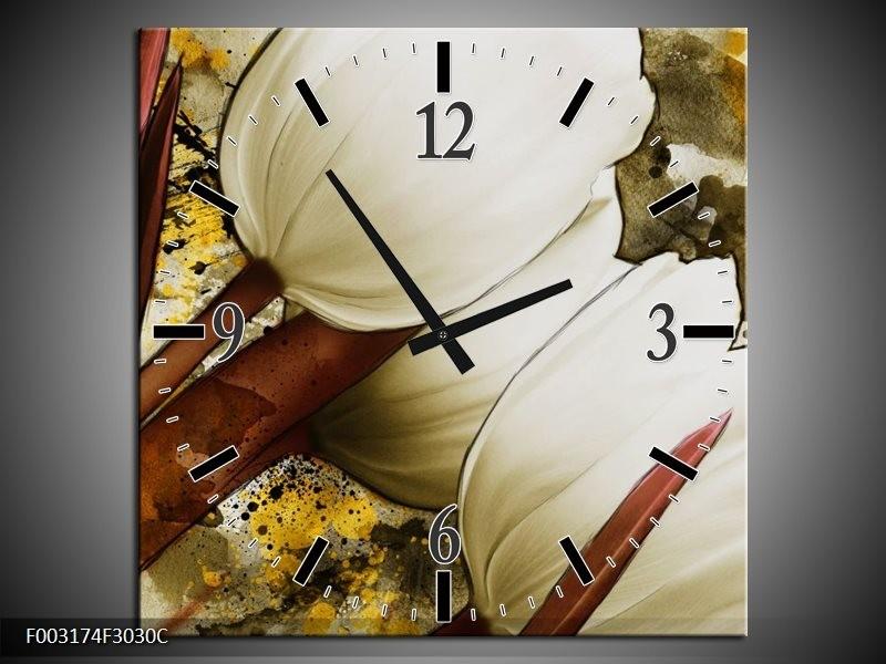 Wandklok op Canvas Tulpen   Kleur: Wit, Bruin, Geel   F003174C