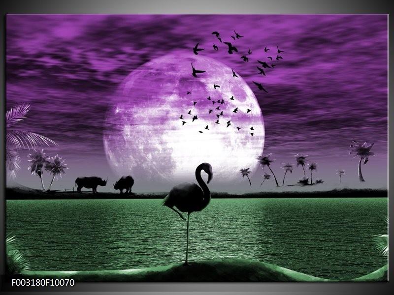 Foto canvas schilderij Natuur | Paars, Groen, Wit