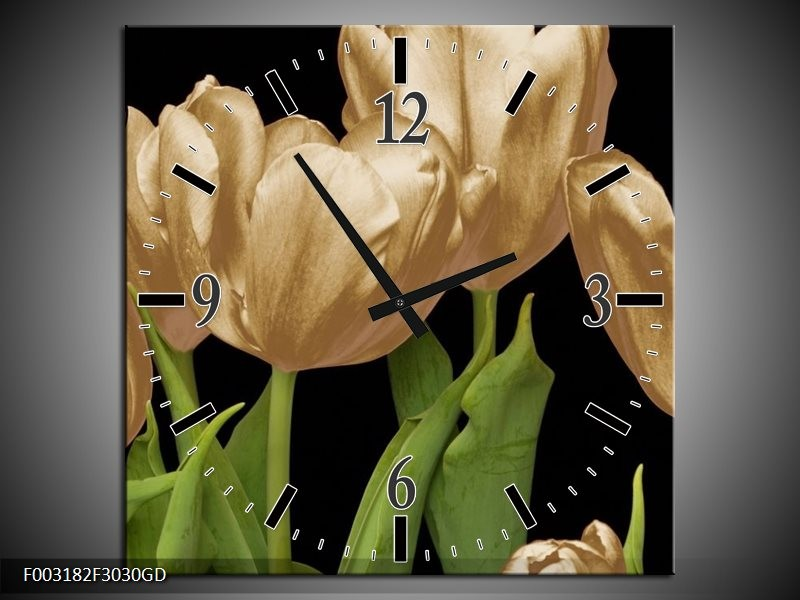 Wandklok op Glas Tulpen | Kleur: Goud, Groen, Zwart | F003182CGD