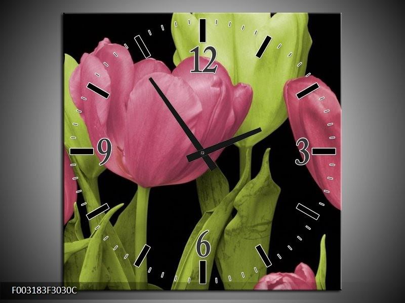 Wandklok op Canvas Tulpen | Kleur: Roze, Groen, Zwart | F003183C
