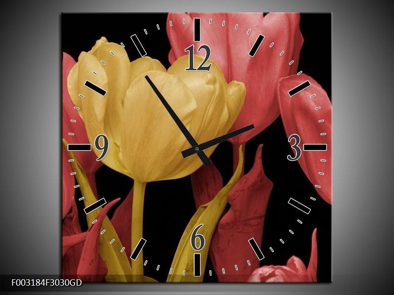 Wandklok op Glas Tulpen | Kleur: Geel, Roze, Zwart | F003184CGD