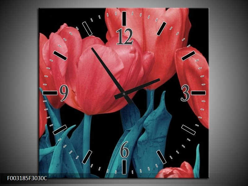 Wandklok op Canvas Tulpen | Kleur: Rood, Blauw, Zwart | F003185C